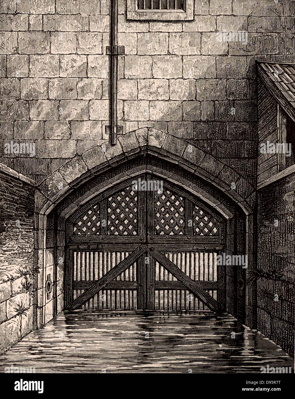 La Tour de Londres: traître's Gate, la porte d'eau de la Tamise par lequel beaucoup de prisonniers, Photo Stock