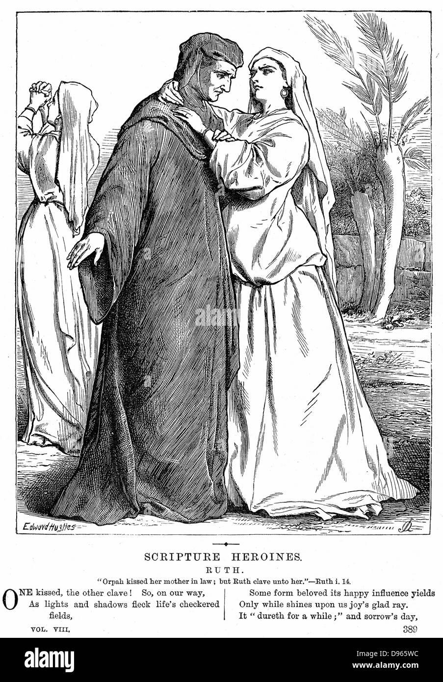 Ruth embrassant sa belle-mère.'' 2 Bible Ruth 1.14. La gravure sur bois de 1873. Photo Stock