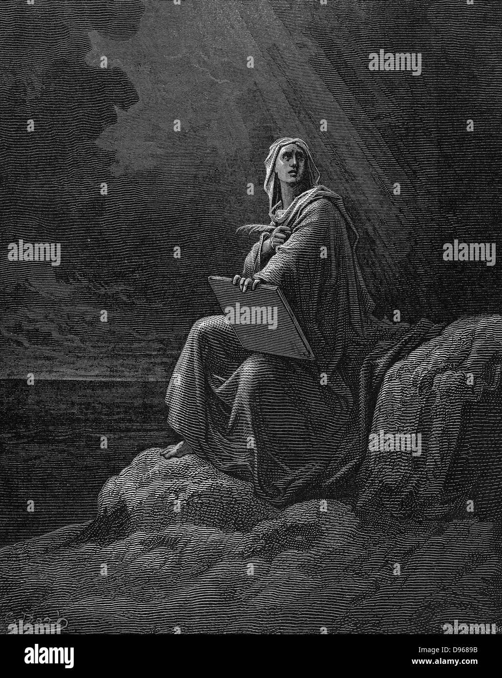 Saint Jean à Patmos. Illustration par Gustave Dore pour la Bible 1865-6. La gravure sur bois Banque D'Images