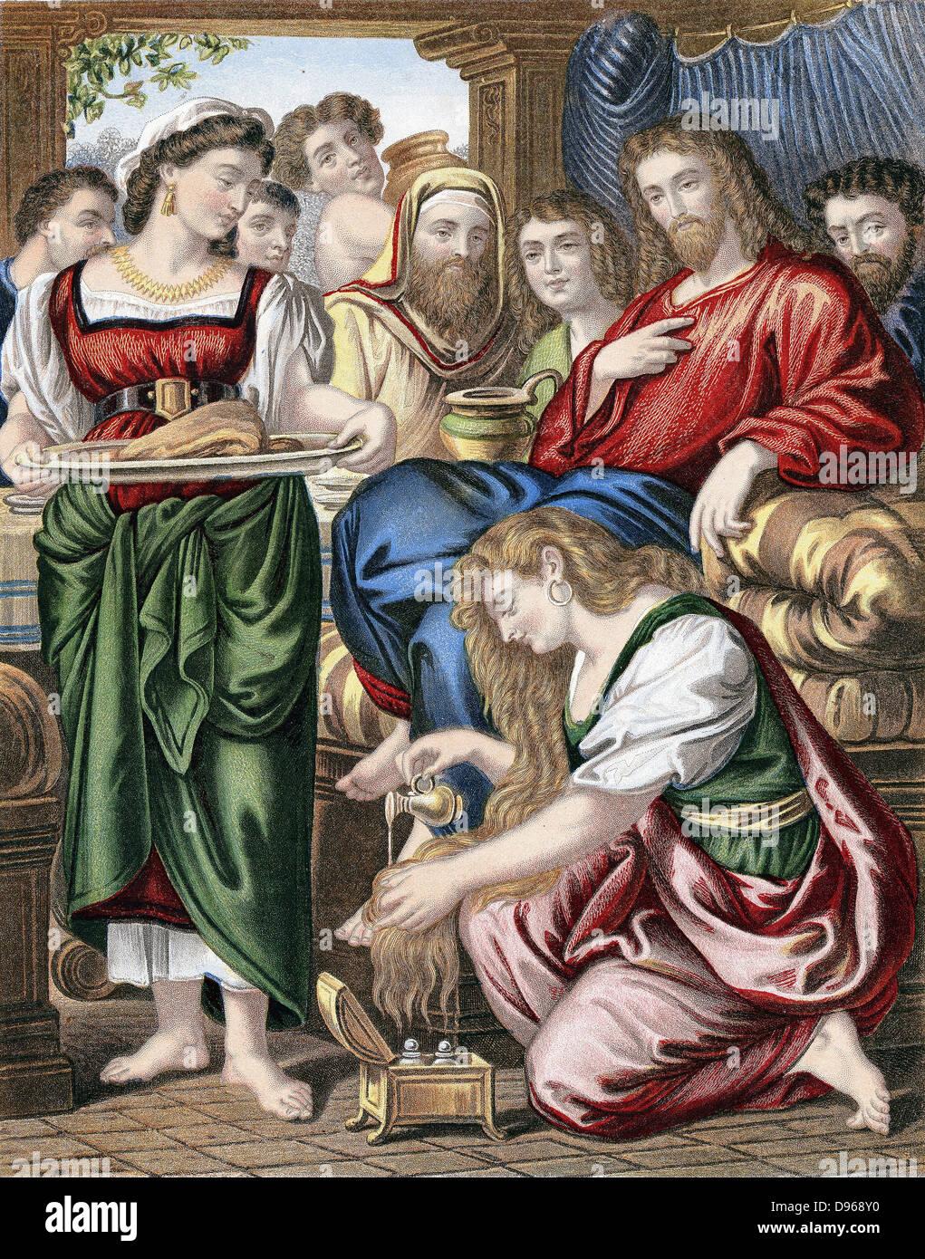 """Marie Madeleine annointing les pieds de Jésus. """"Bible"""" Jean 12. Chromolithographie c1860 Banque D'Images"""