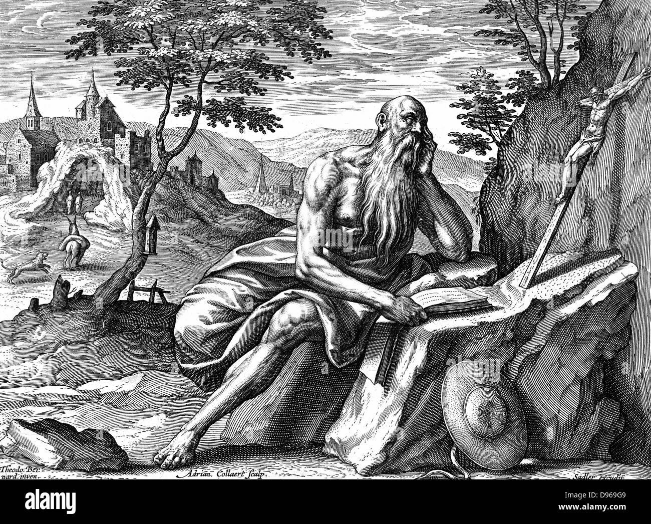 Saint Jérôme (c342-420) Eusebius Sophronius Hieronymus: père de l'église chrétienne. Photo Stock