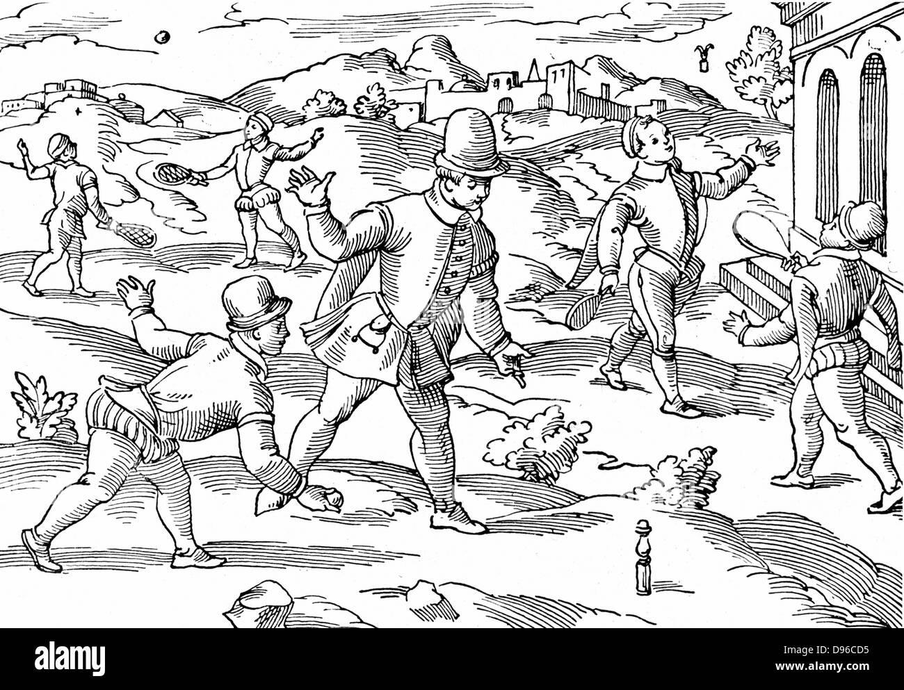 Jeux d'enfants au 16ème siècle: en premier plan garçons jouent une forme de quilles, volant Photo Stock