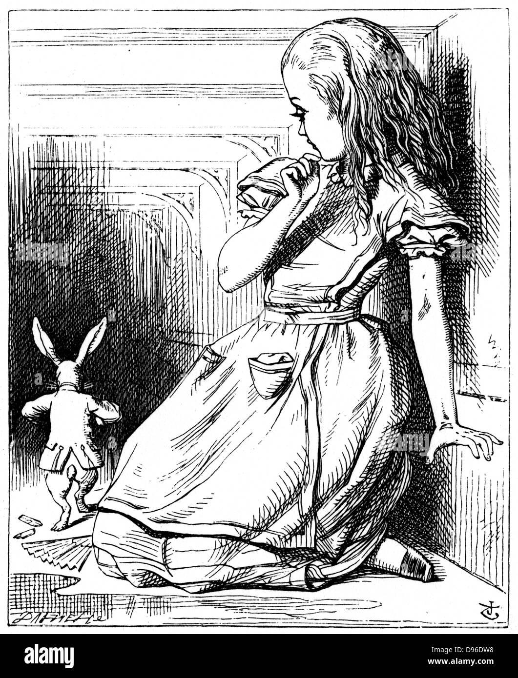 """Illustration par John Tenn iel pour """"Aventures d'Alice au pays des merveilles de Lewis Carroll (Londres, Photo Stock"""