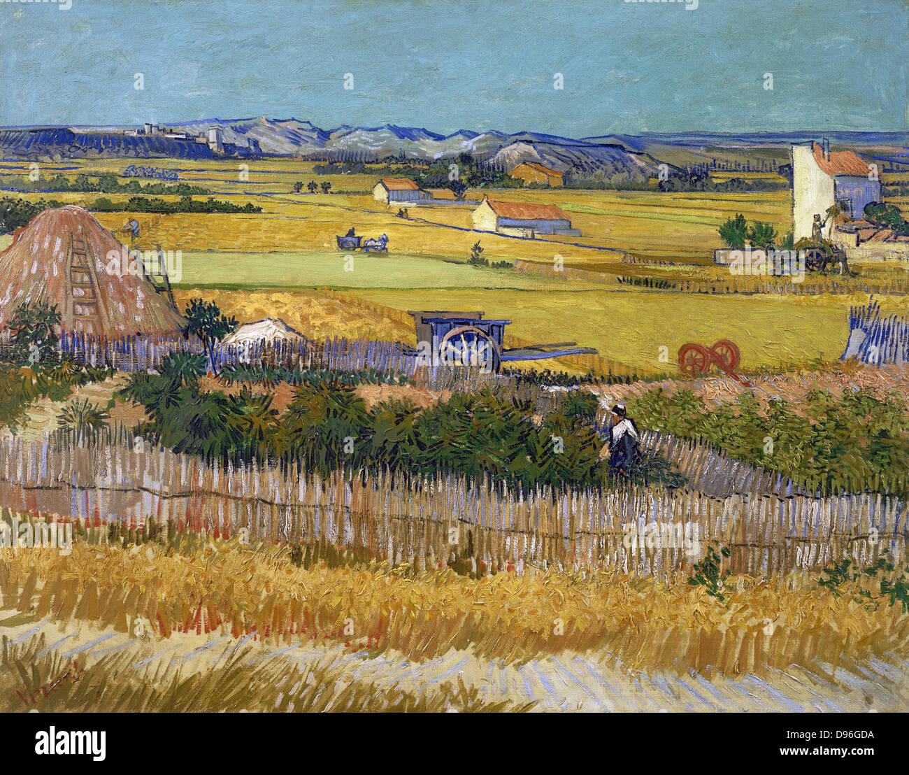L 'Harvest', une peinture de Vincent Van Gogh représentant une scène rurale. Huile sur toile. Photo Stock