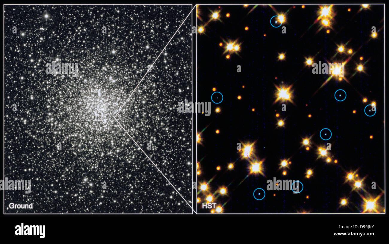 Étoiles naines blanches dans l'amas globulaire M4.H.Bond (STSCI). Photographie de la NASA. Photo Stock