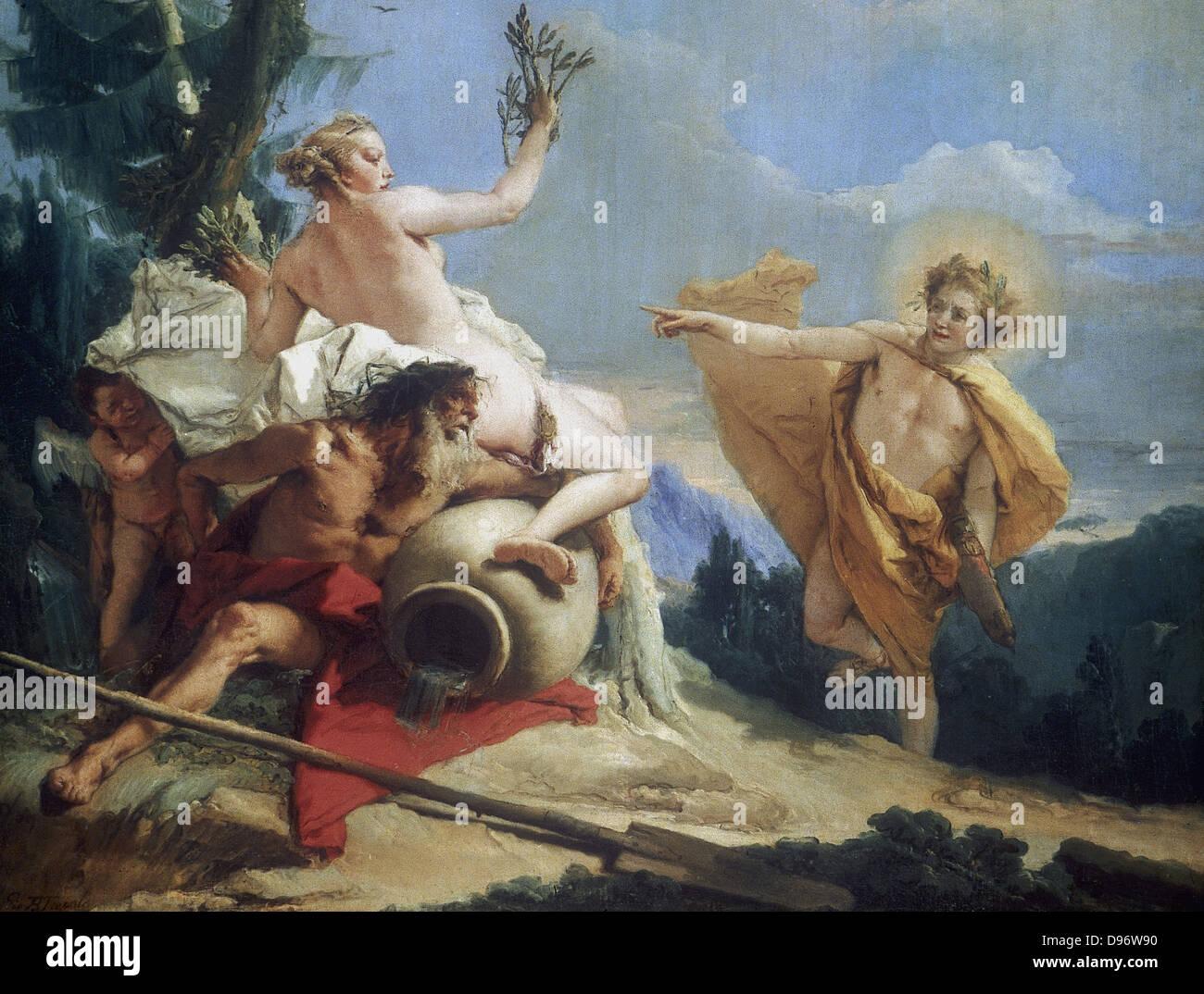 Apollo poursuivant Daphne' (c1755-1760). La mythologie grecque. Daphné, fille du dieu fleuve Peneus, dédié Photo Stock