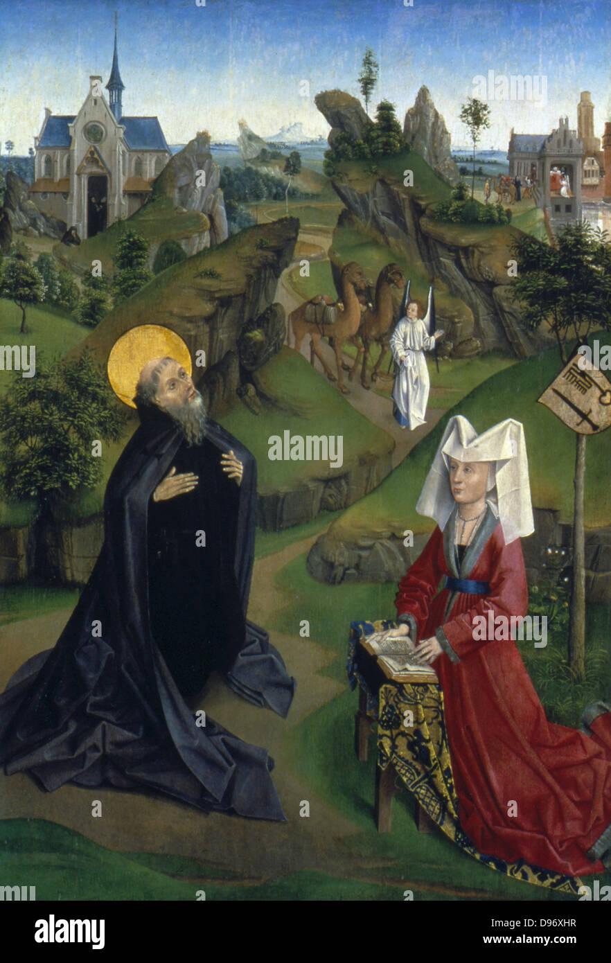 La légende de St Antony' (d'Égypte). Français anonyme. c1450. Photo Stock