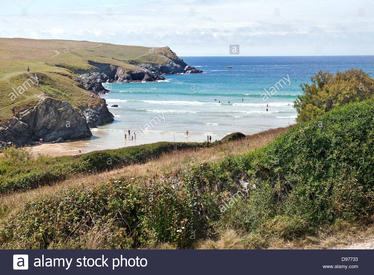 Vue de Polly Joke ou plage de Porth Joke, Newquay, Cornwall, Angleterre Photo Stock