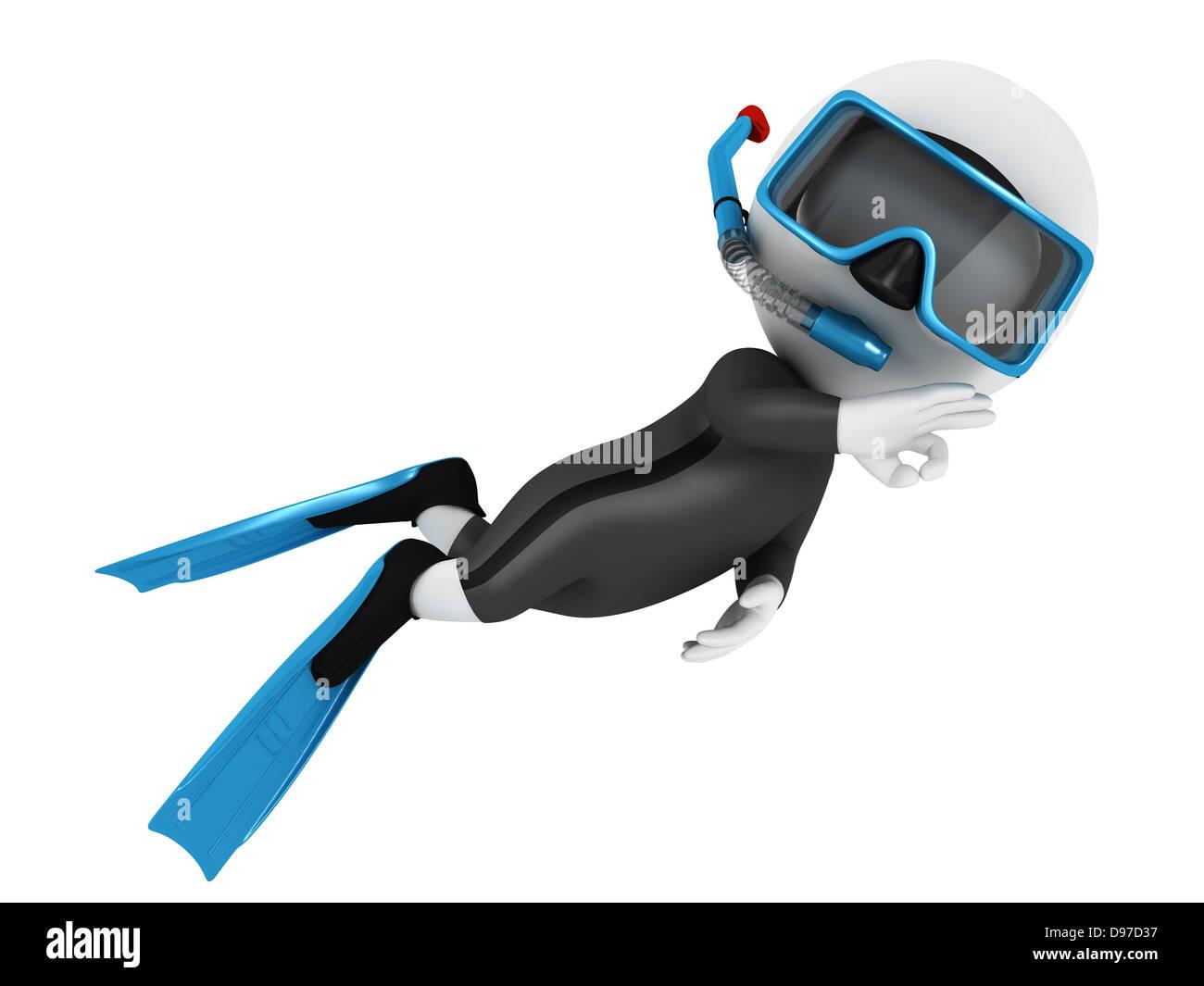 3d white personnes scuba diver en sous-marin avec un équipement bleu, isolé sur fond blanc, image 3D Photo Stock