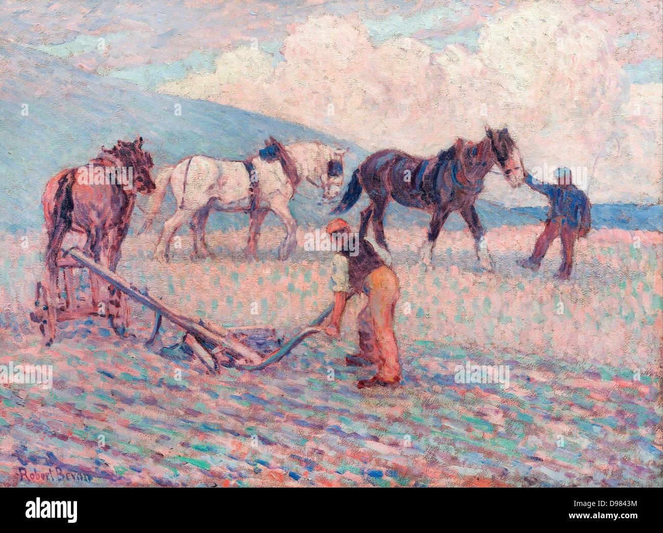 Robert Bevan, Le Rice-Plow son tour, Sussex. Vers 1909. Huile sur toile. Yale Center for British Art, New Haven, Photo Stock