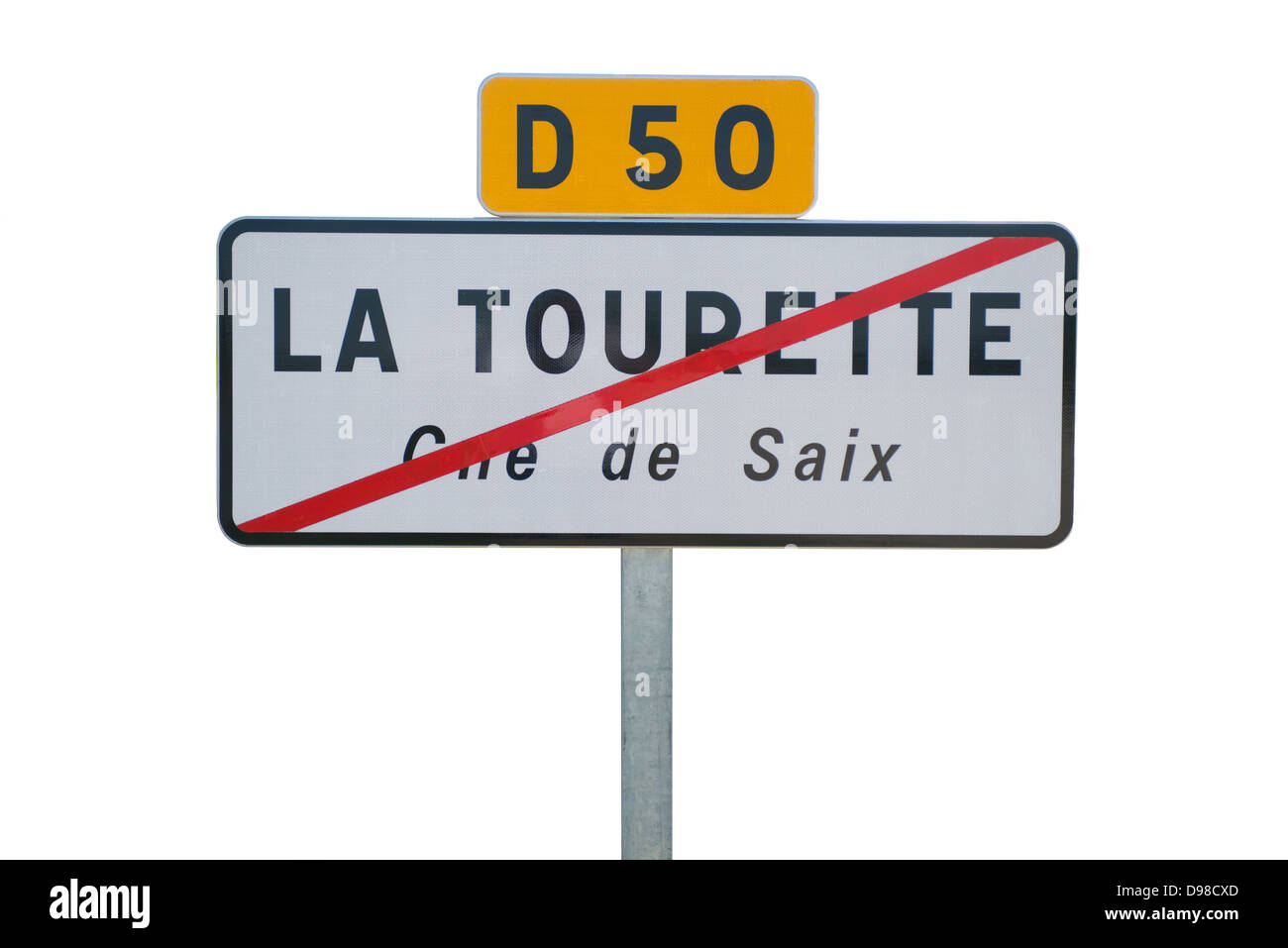 Une coupe d'un panneau routier français montrant les limites de la ville ou du village en sortant par la voie publique. Banque D'Images