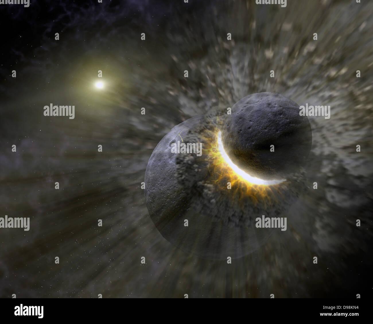 Concept de l'artiste montrant une collision massive d'objets peut-être aussi grand que la planète Photo Stock