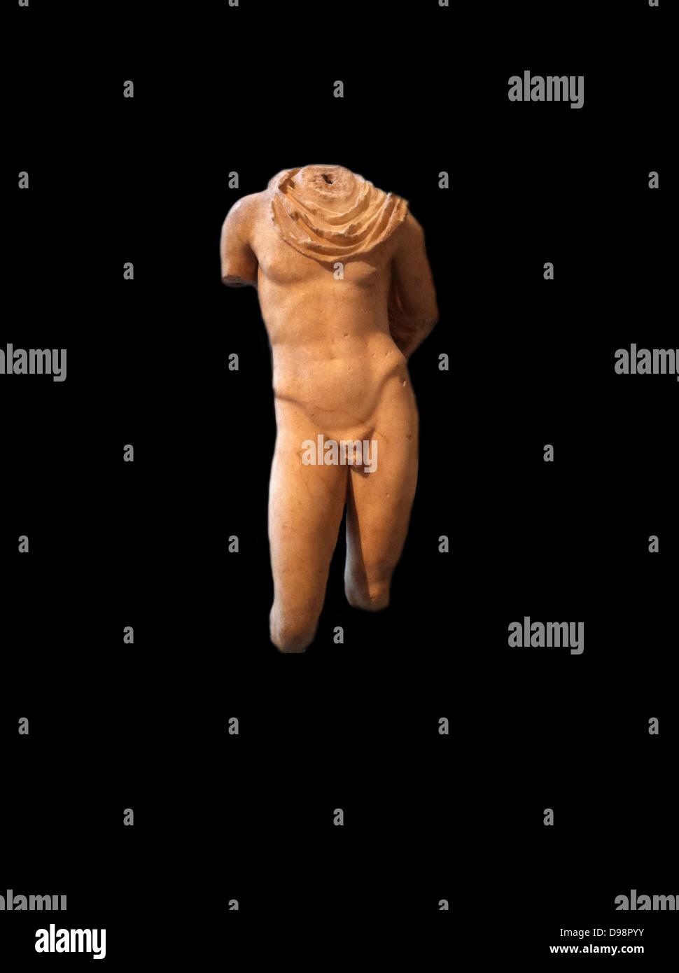 Statue en marbre d'Hermès, Roman 1-2e siècle adapté d'une sculpture grecque classique Banque D'Images