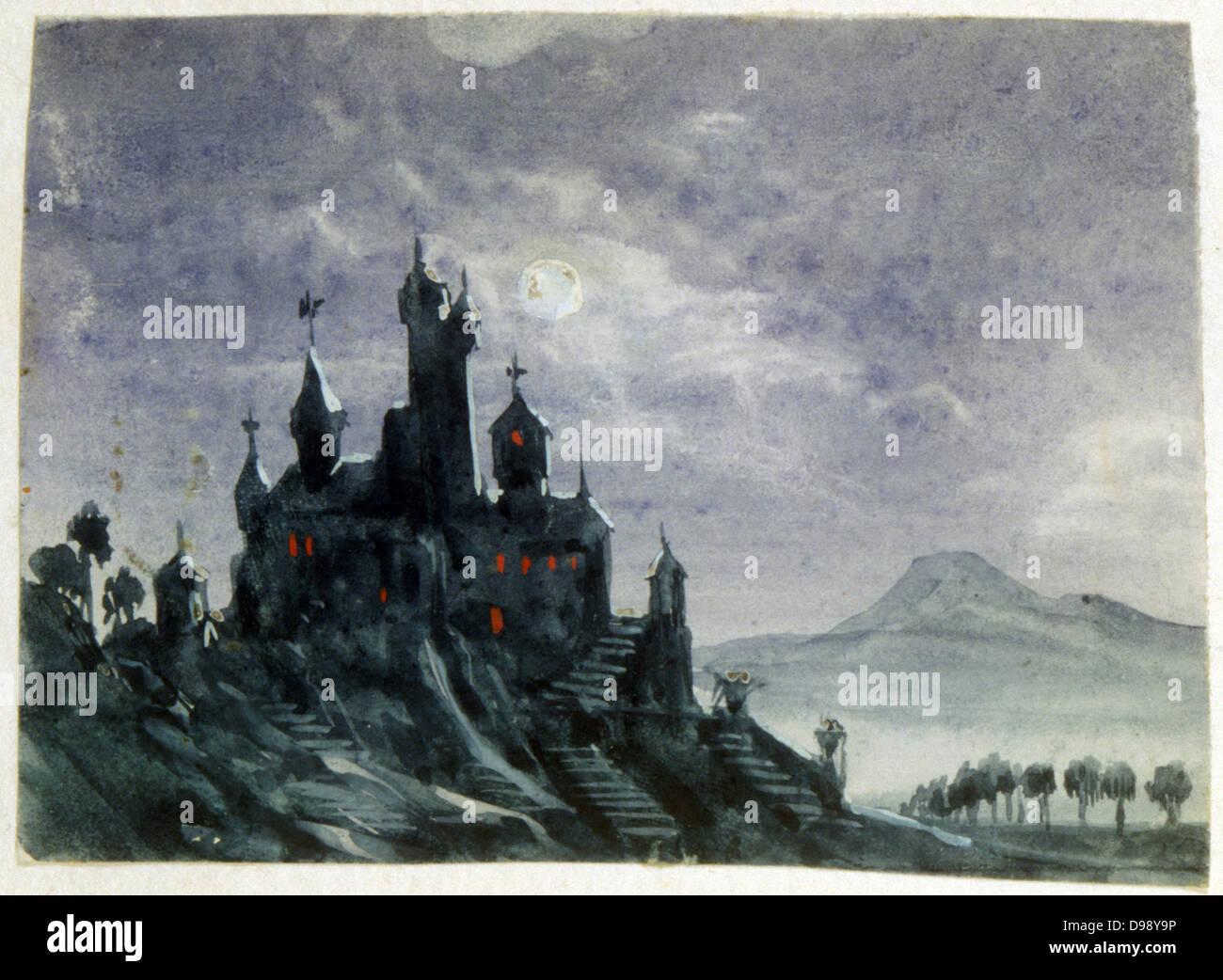 Vue d'un château fantastique au clair de lune'. Aquarelle et gouache. Aurore Amadine Lucie Dupin (1804 Photo Stock
