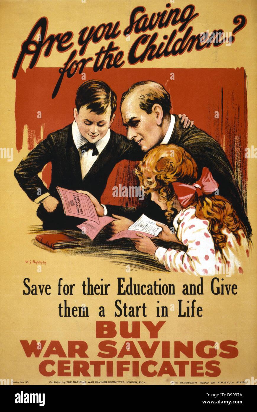 La Première Guerre mondiale affiche pour les économies de guerre. Circa 1914-1915 Photo Stock