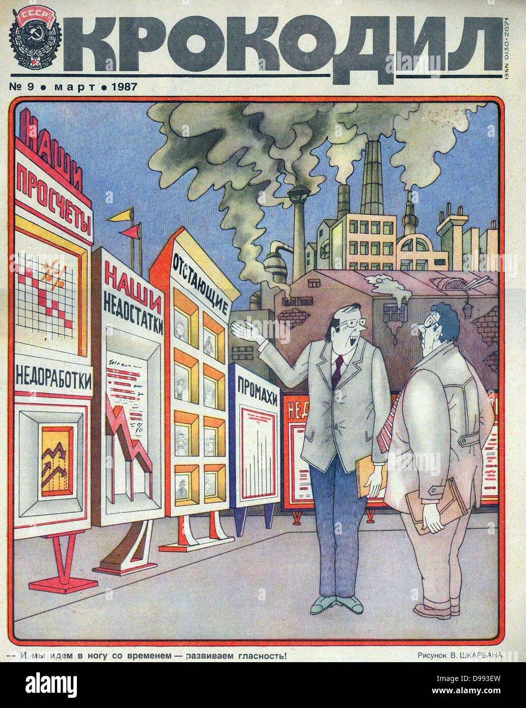 Dessin animé russe soviétique Glasnost satire des années 80 Photo Stock