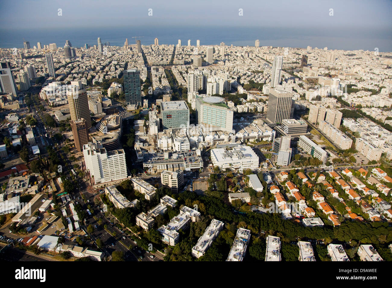 Une photo aérienne du centre-ville de Tel Aviv Banque D'Images