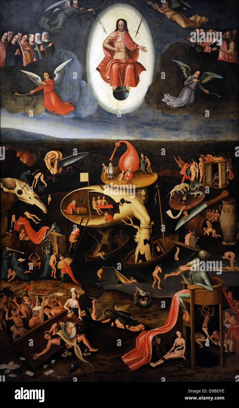 Jérôme Bosch (1450-1516). Le Jugement Dernier, 1540. Musée d'histoire allemande. Berlin. L'Allemagne. Photo Stock