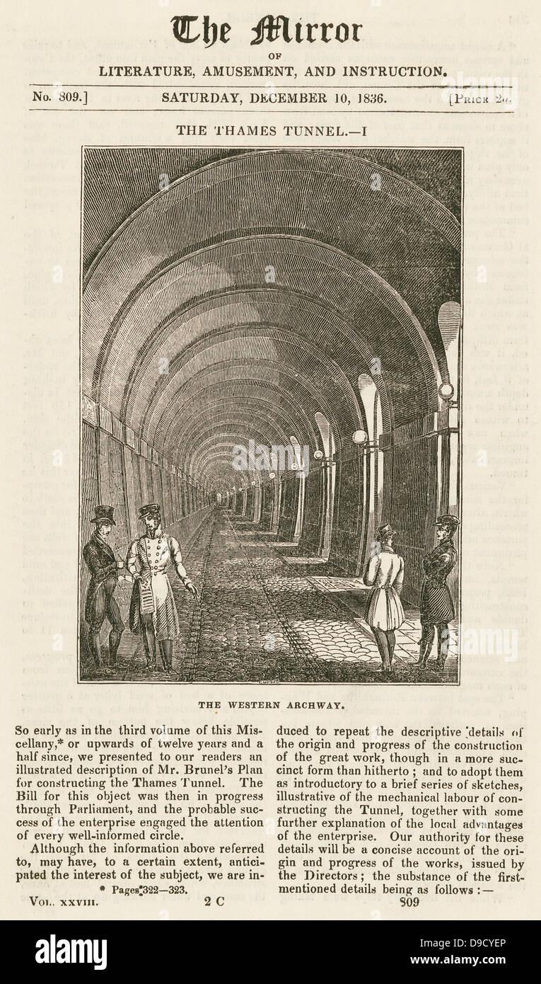 Passage de l'ouest du MRAC Isambard Brunels tunnel sous la Tamise en maçonnerie construit 1825-1843. Gravure 1836. Isambard Kingdom Brunel était le site ingénieur. Elle fait maintenant partie du système ferroviaire souterrain de Londres. Banque D'Images