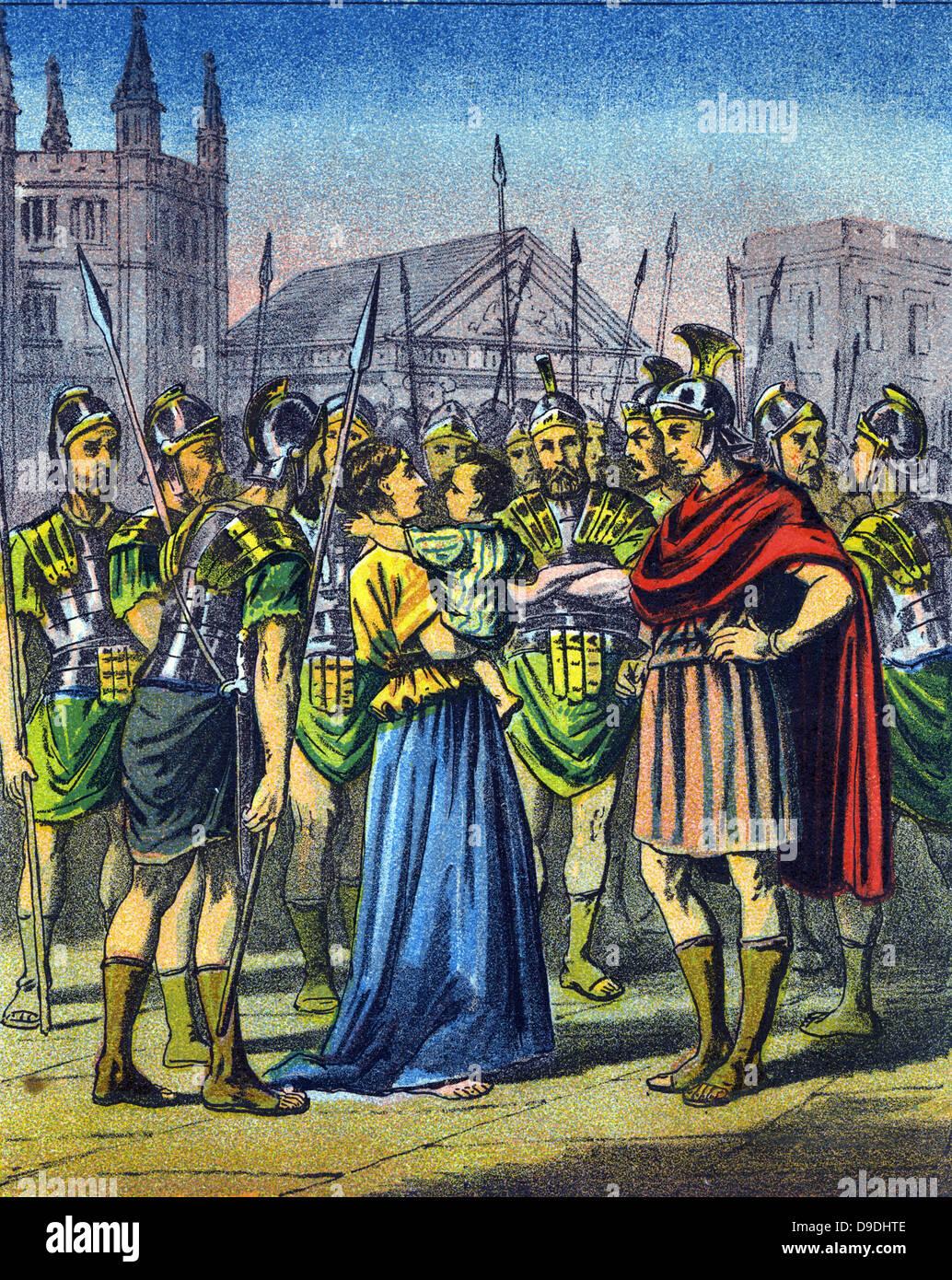 Le harcèlement et la persécution des chrétiens dans l'Empire romain au 4ème siècle.. Photo Stock