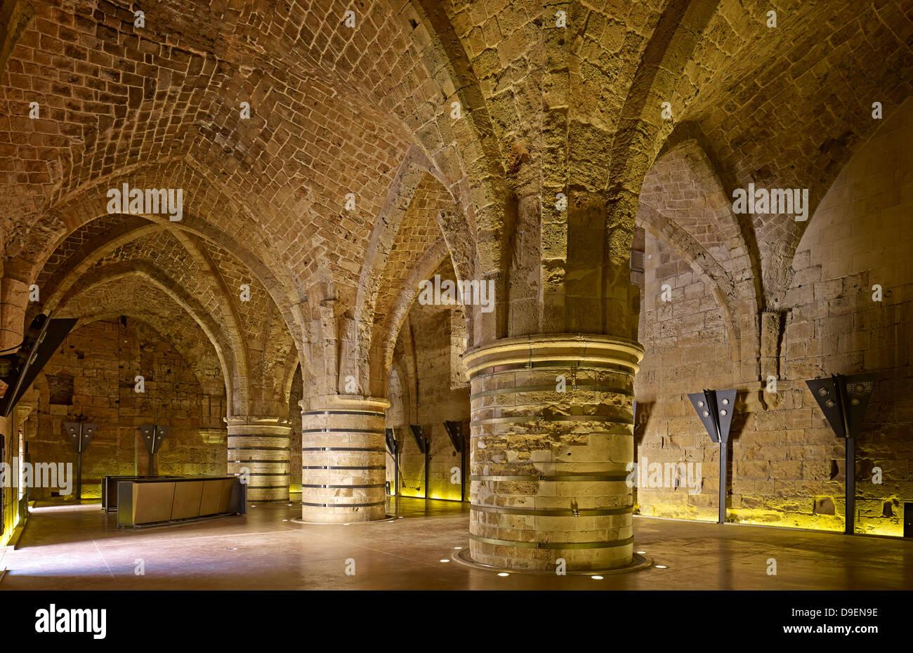 Réfectoire de la Citadelle à Acre, Israël Photo Stock