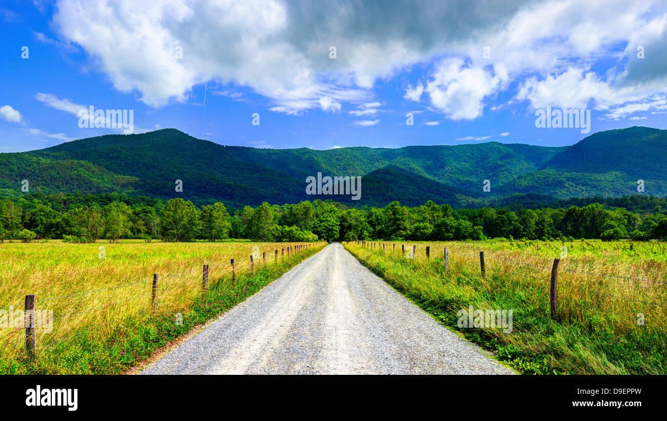 Cades Cove Lane en étincelles près de Gatlinburg, Tennessee. Photo Stock