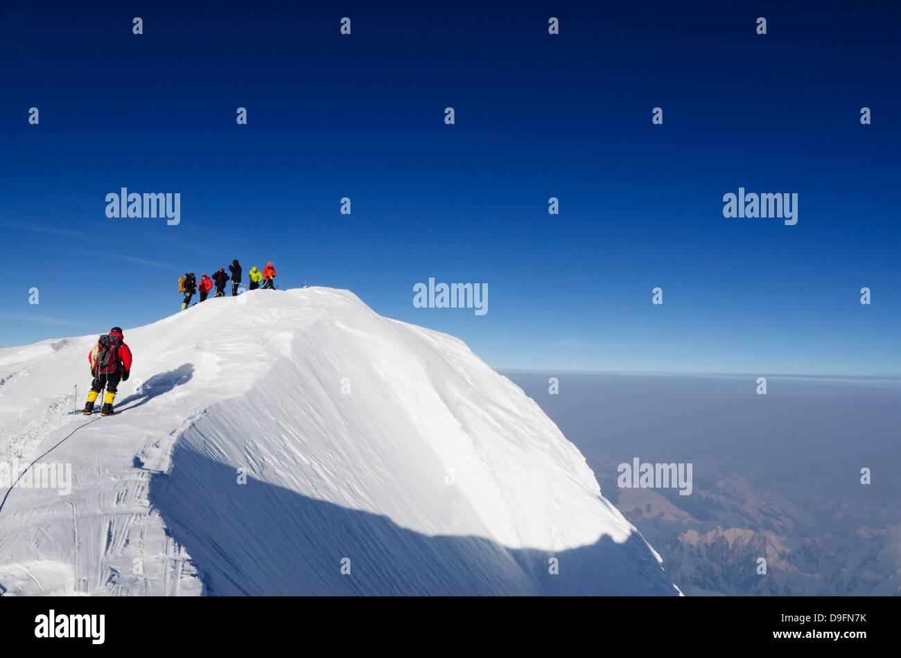 Crête du sommet, trek sur le mont McKinley, 6194m, le parc national Denali, Alaska, USA Photo Stock