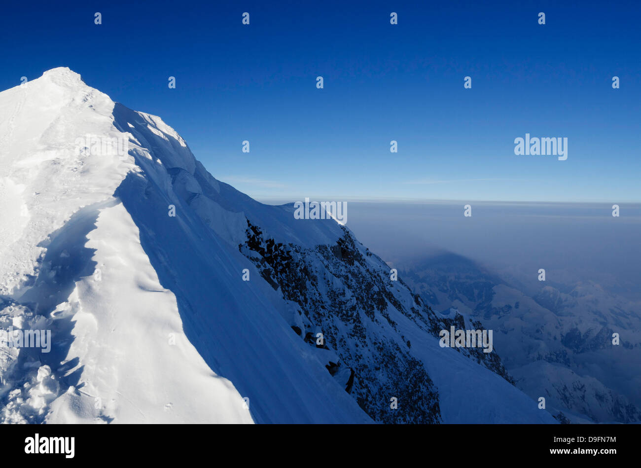 Crête du sommet, trek sur le mont McKinley, 6194m, le parc national Denali, Alaska, USA Photo Stock