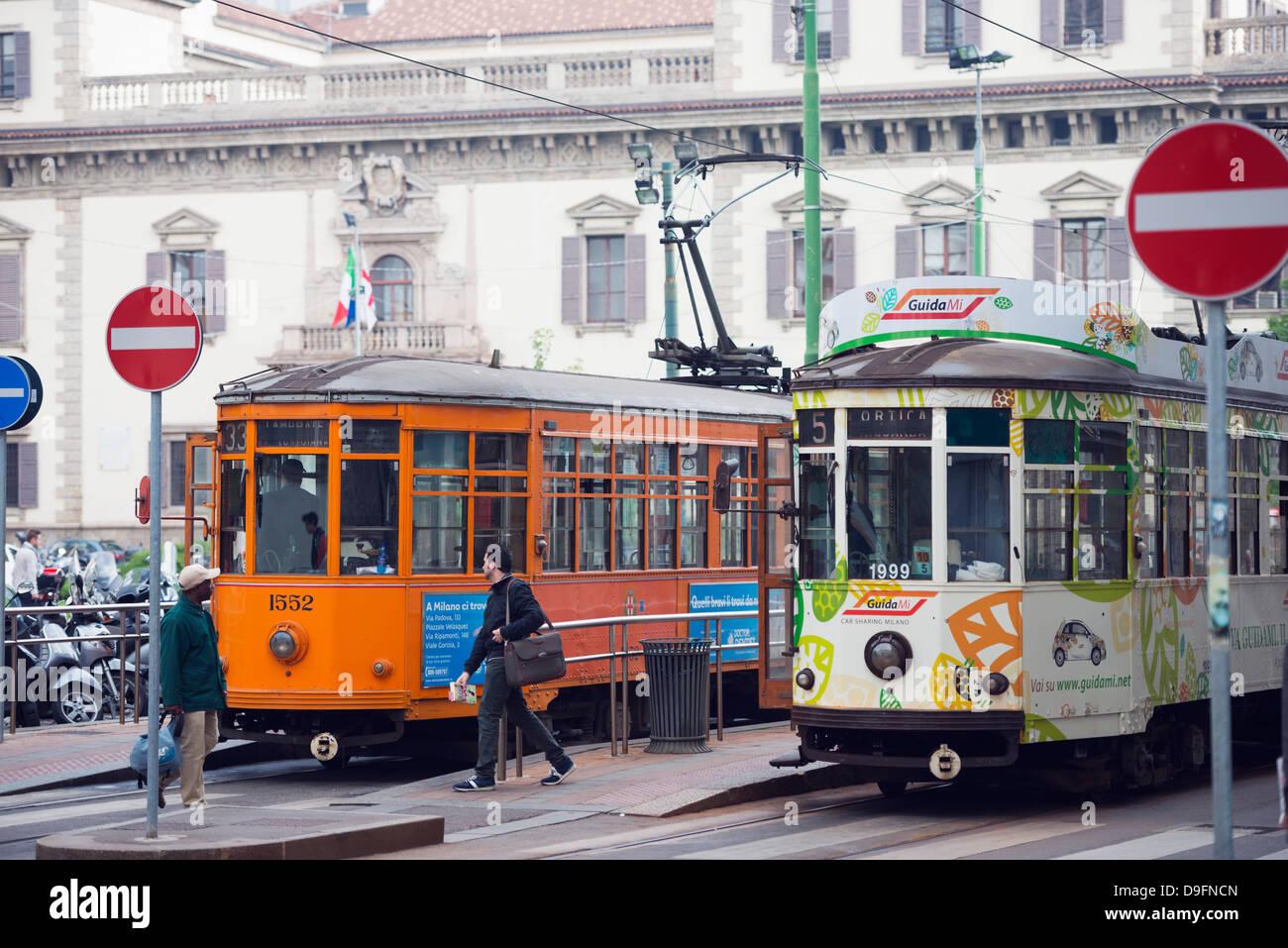 Le tramway de la ville, Milan, Lombardie, Italie Photo Stock