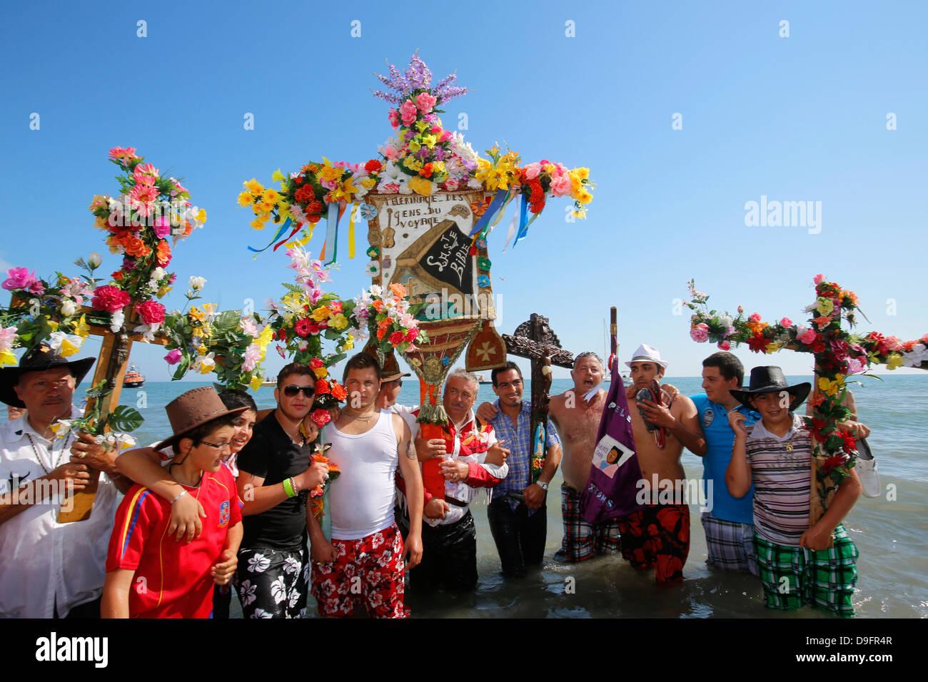 Pèlerinage gitan des Saintes-Maries-de-la-Mer, Bouches-du-Rhône, France Photo Stock