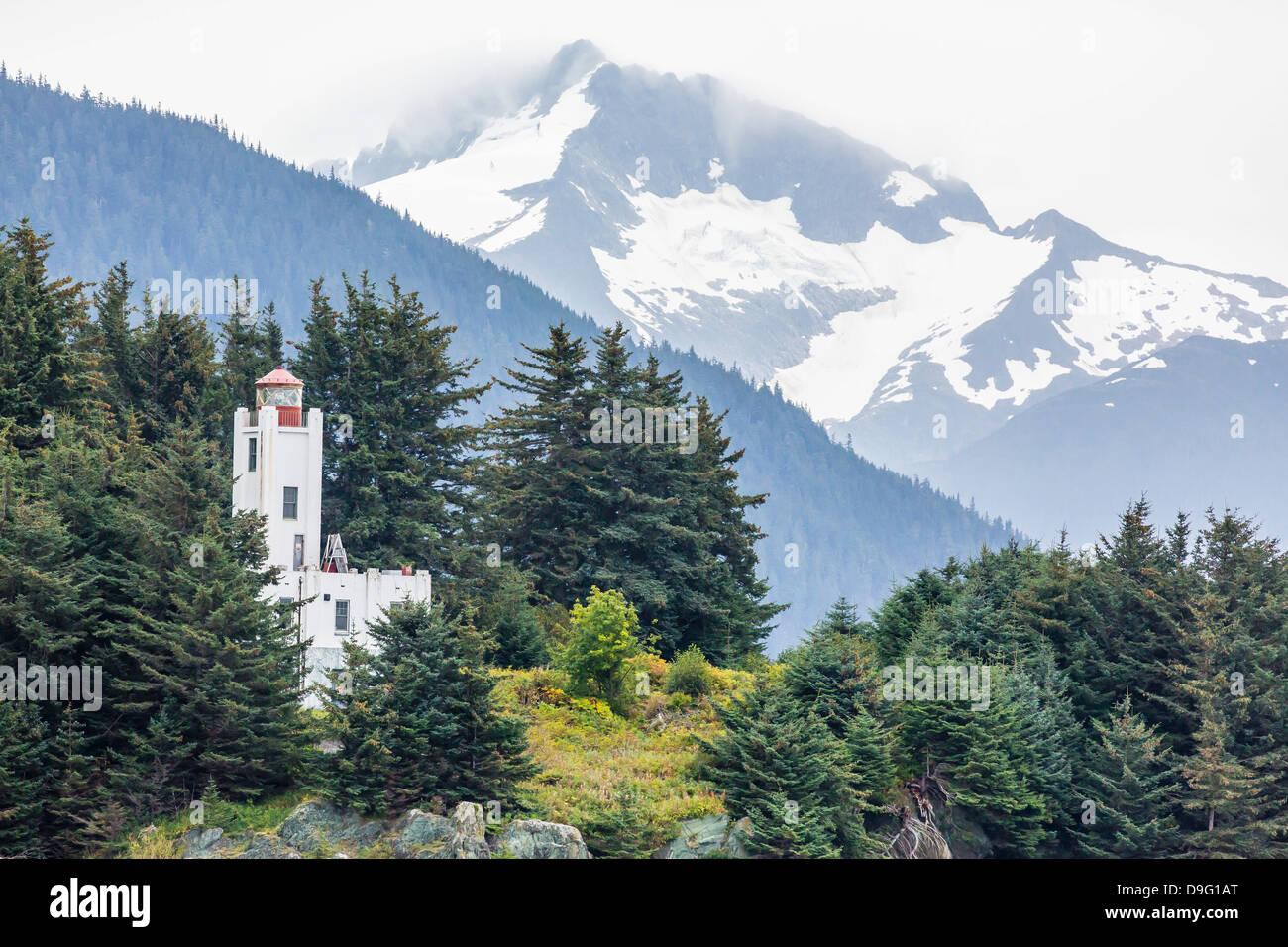 Leuchtturm juste au nord de Juneau, Southeast Alaska, USA Photo Stock