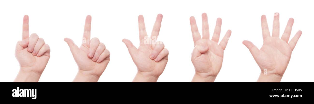 Signe de main set: compter un, deux, trois, quatre, cinq Photo Stock