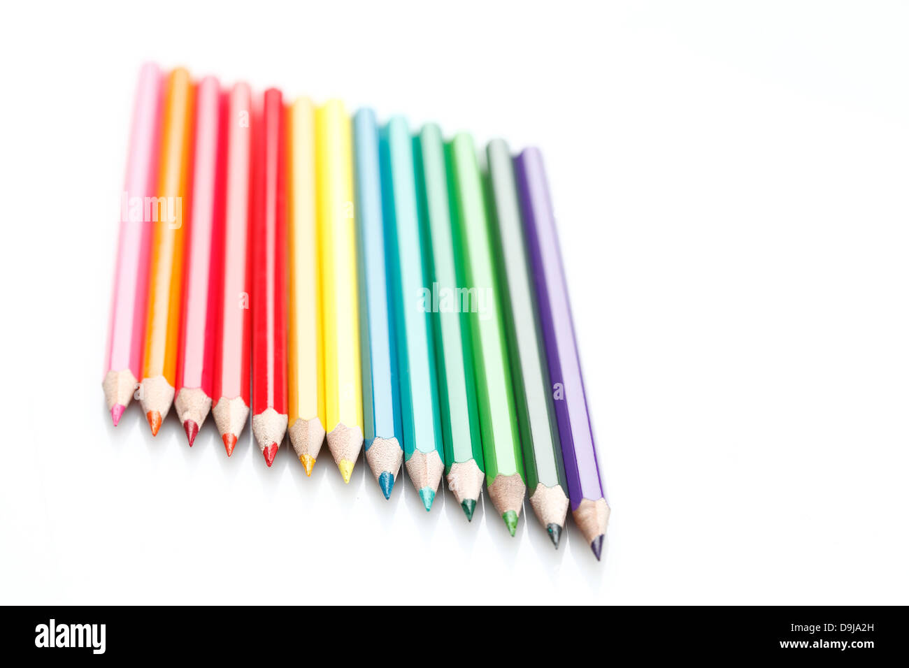 Un crayon de couleur disposés en angle. Photo Stock