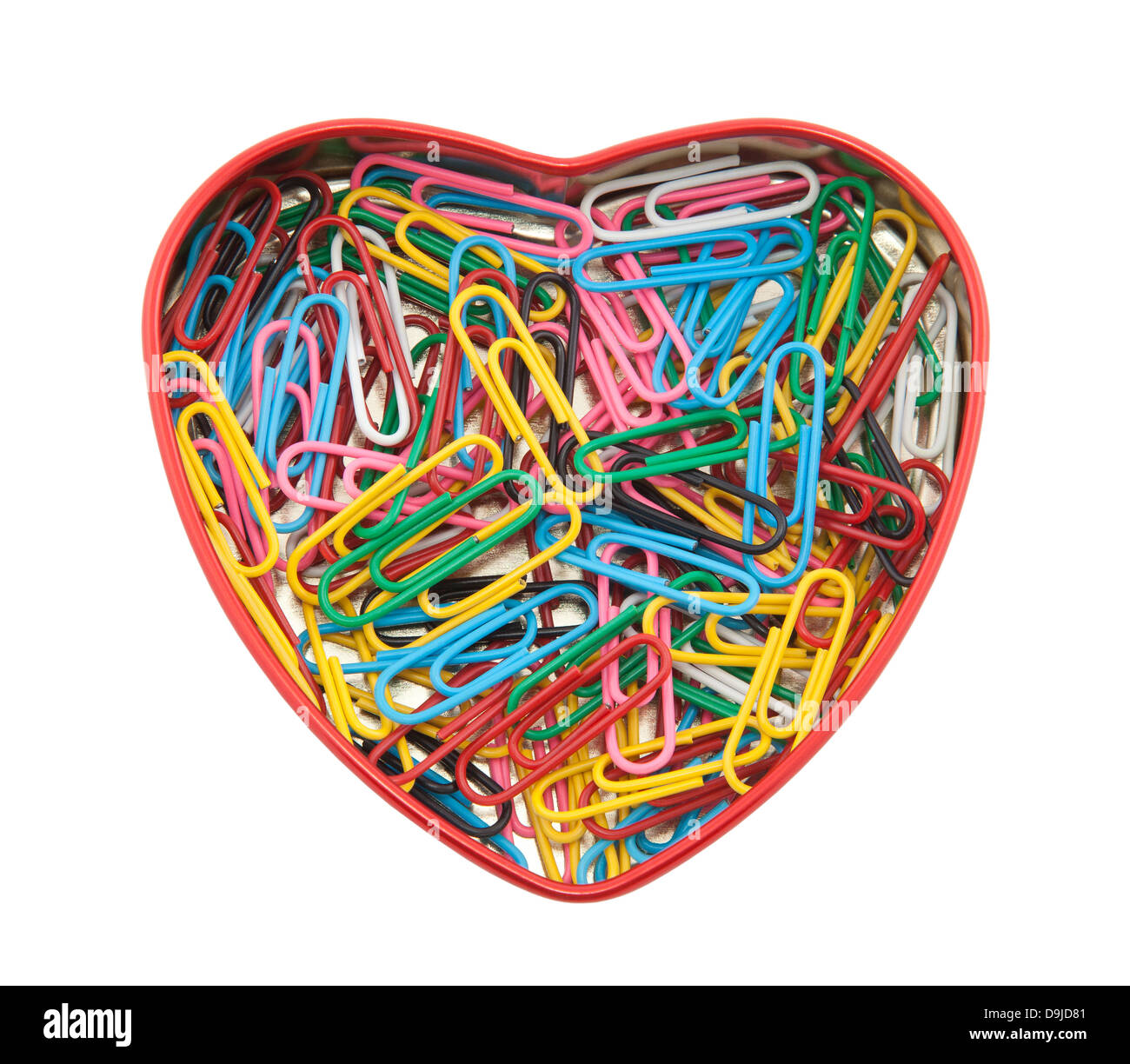 Coeur en trombones with clipping path Photo Stock