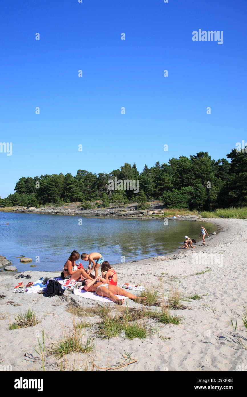 Storsand beach, Nattaroe, île de l'archipel de Stockholm, côte de la mer Baltique, la Suède, Scandinavie Banque D'Images