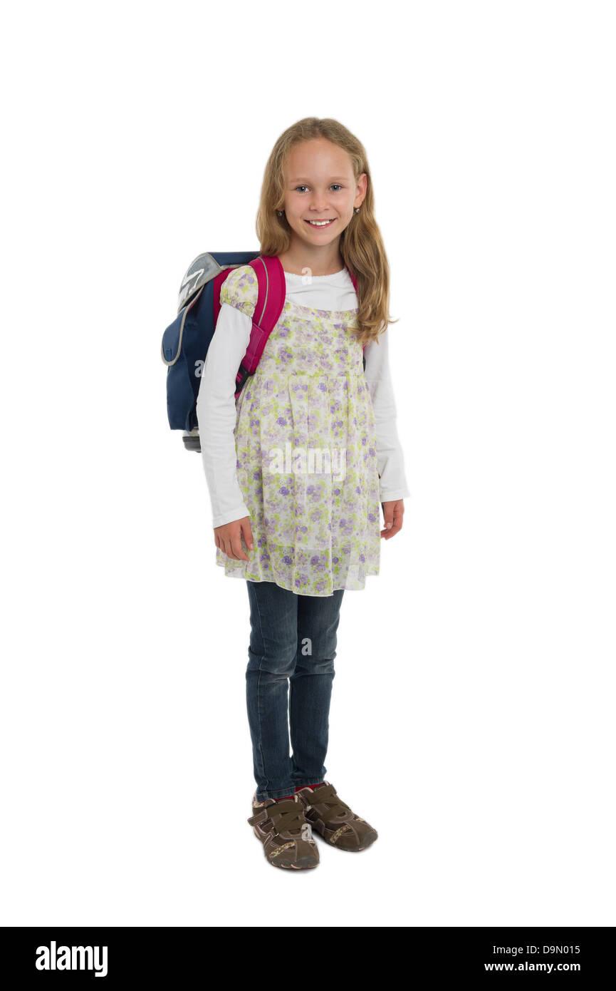 Avec un sac d'écolière modèle (libération) Photo Stock