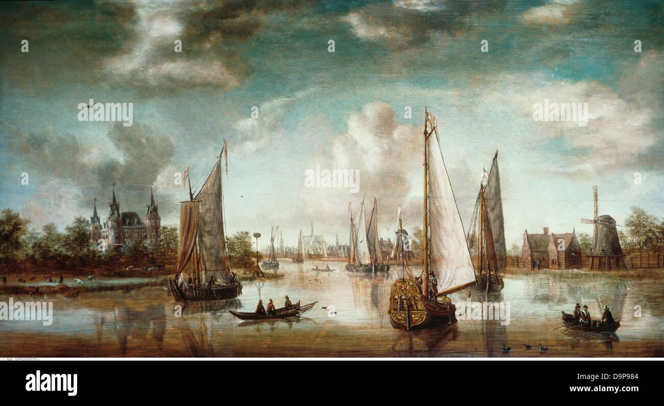 """Beaux-arts, Storck, Abraham (1644 - 1708), peinture, 'entrée du port d'Amsterdam"""", du 18ème Photo Stock"""
