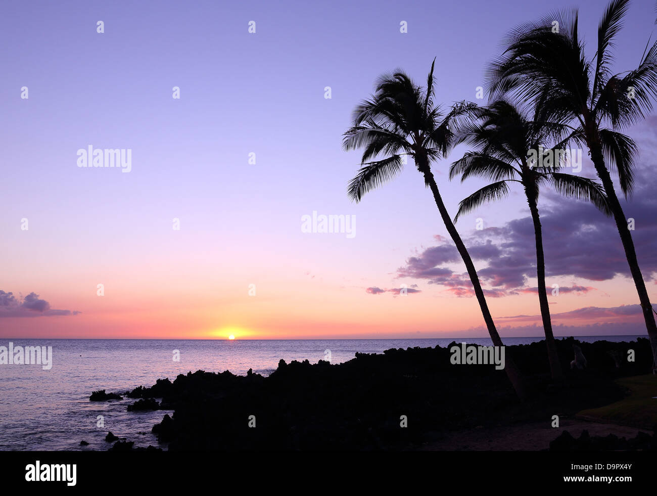 Coucher de soleil sur Big Island, Hawaii, USA Photo Stock