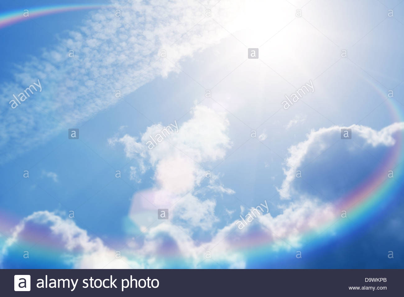 Flare soleil Ciel clair Photo Stock