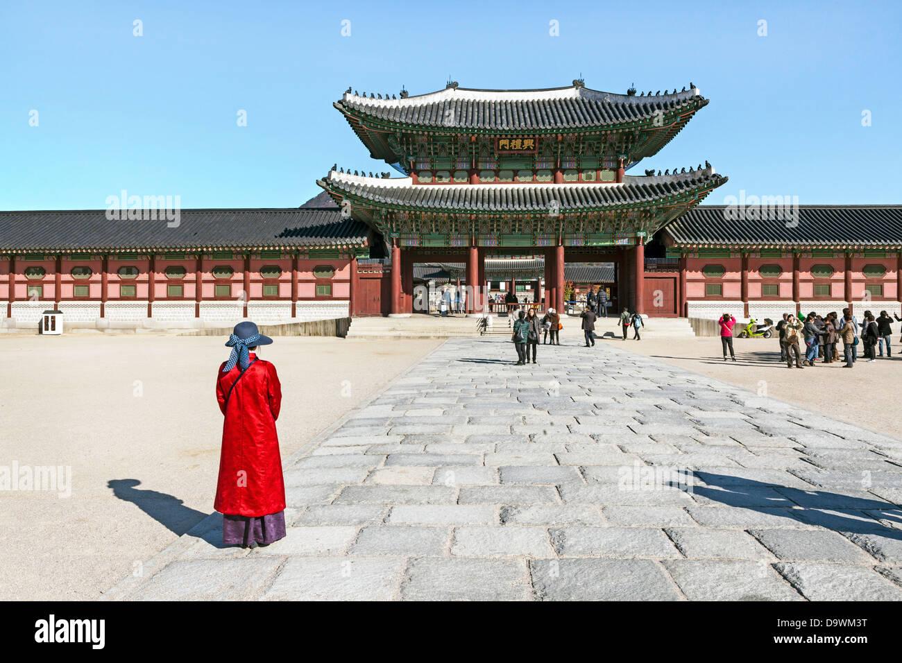Gyeongbokgung Palace, palais de bonheur parfait, Séoul, Corée du Sud, Asie Photo Stock
