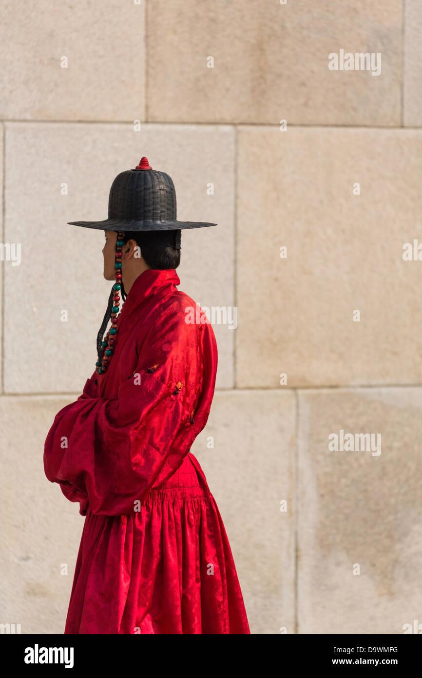 Relève de la garde cérémonie, Gyeongbokgung Palace, palais de bonheur parfait, Séoul, Corée Photo Stock