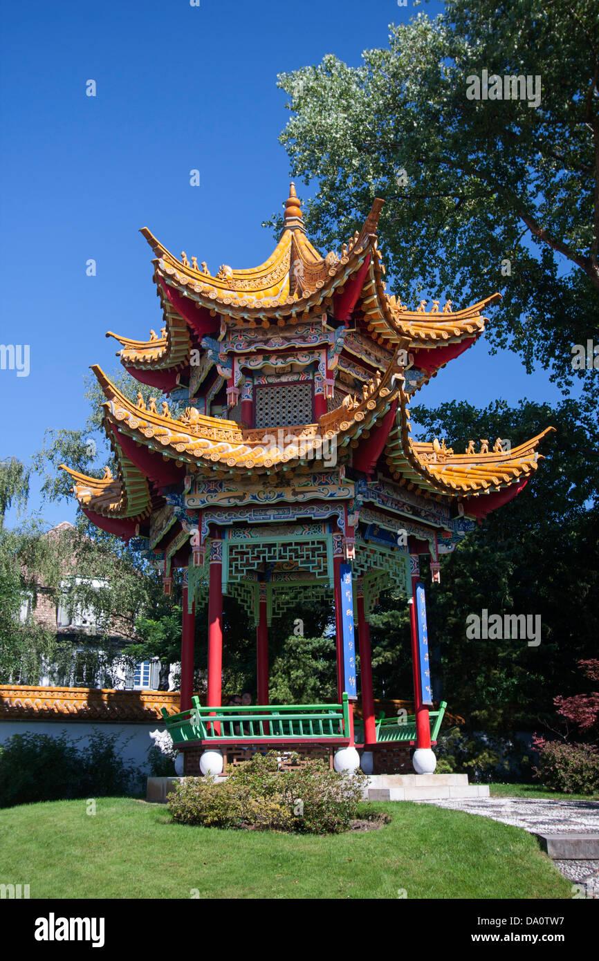 Pavillon de jardin de la Chine, près du lac de Zurich, Suisse Banque ...