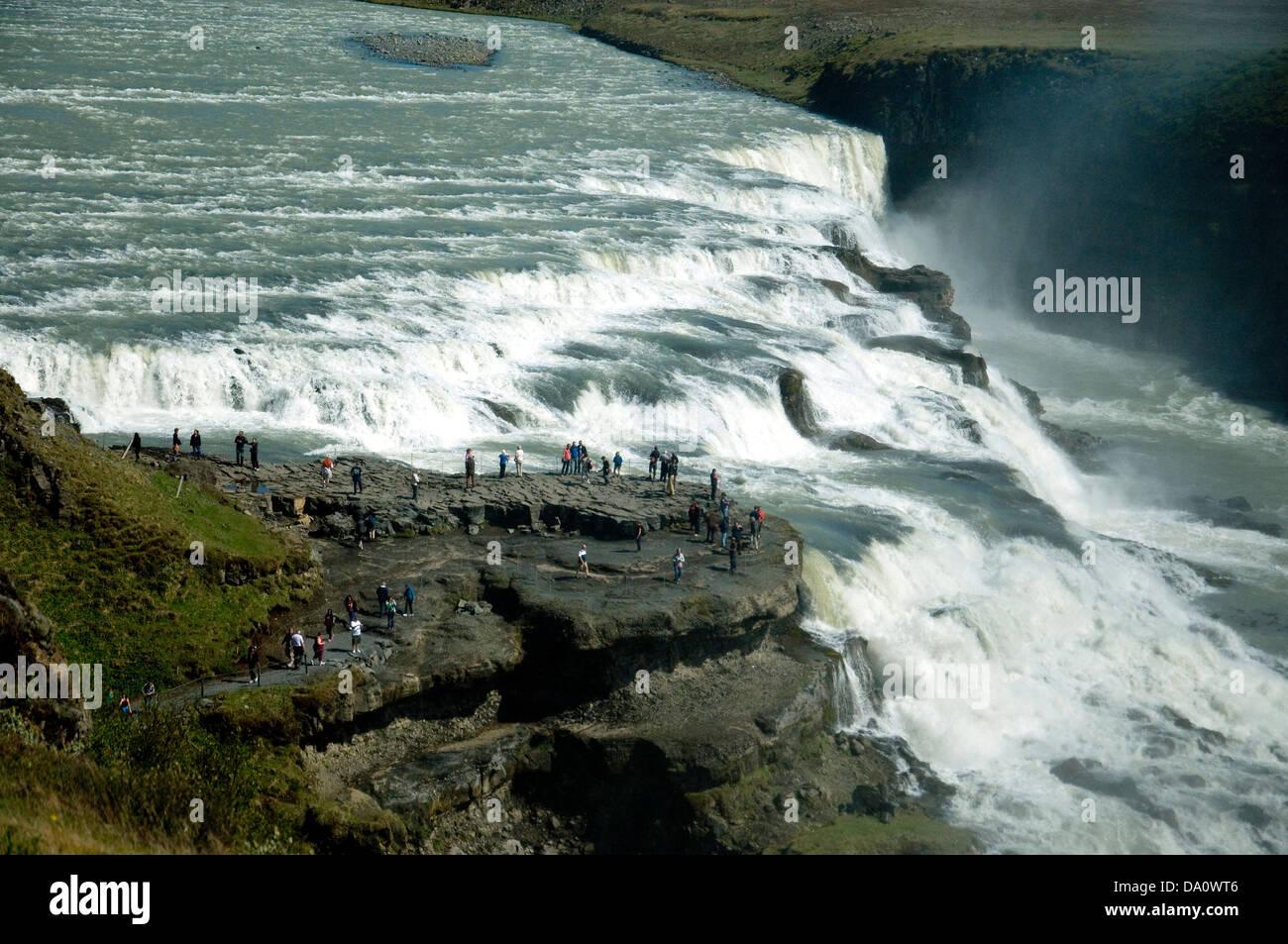 L'Islande, Gullfoss waterfall les plus spectaculaires, deux cascades sur la rivière Hvita qui coule dans Photo Stock