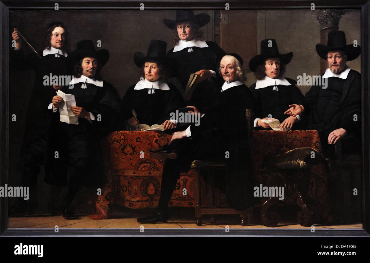 Ferdinand Bol (1616-1680). Peintre hollandais. Gouverneurs de la Guilde des marchands de vin. Ca.1659. L'Alte Photo Stock