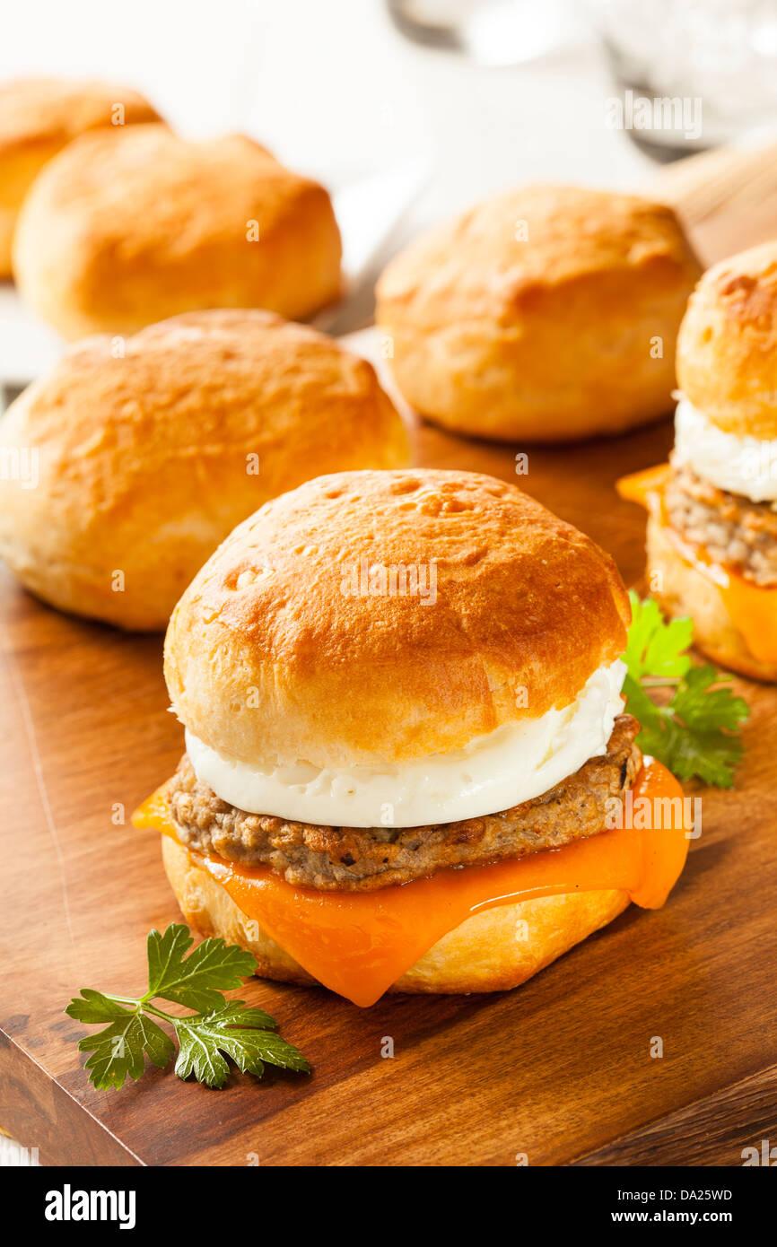 Sandwich Œuf fait maison avec de la saucisse et fromage sur un rouleau Photo Stock