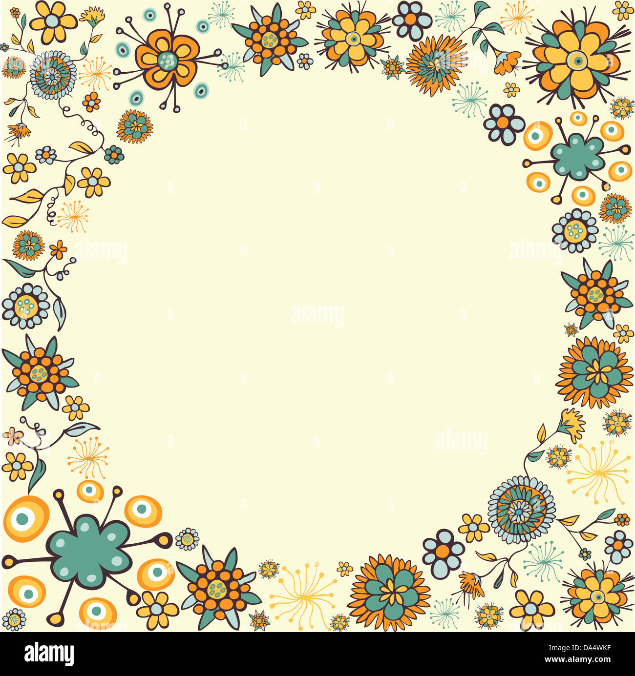 Dessiner A Main Couleur Composition De Fleurs De L Espace Vide De