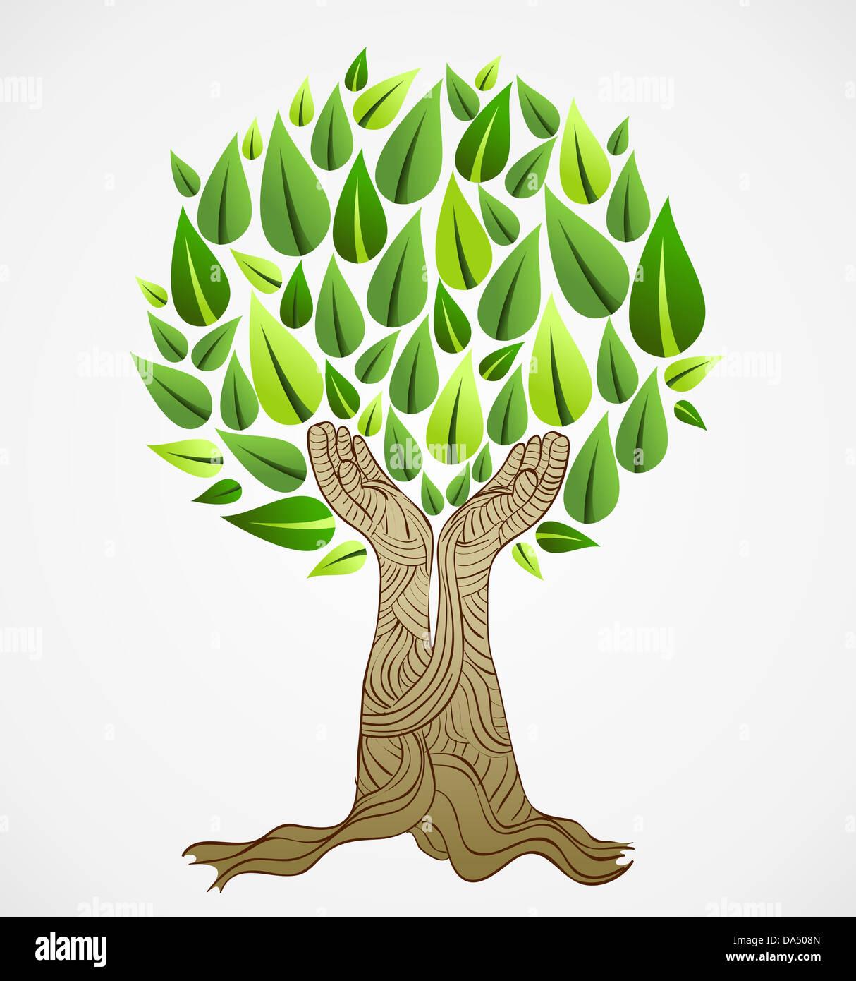 Dessin Avec La Main dessiner à main sauver la terre style idée de l'arbre. cette