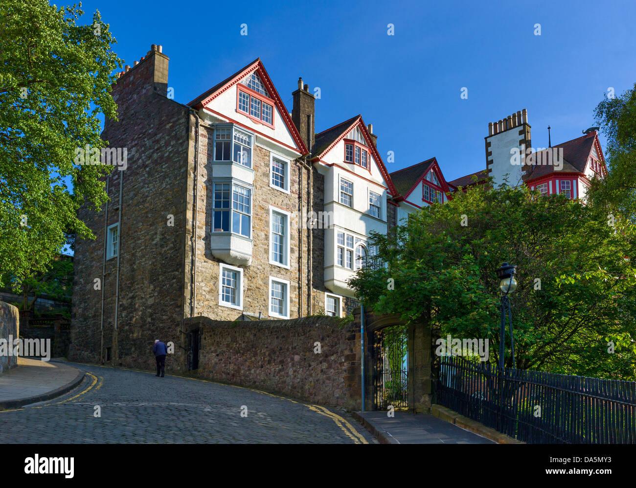 Europe Grande-Bretagne, Ecosse, Edimbourg, maisons traditionnelles dans la région de Mount palace. Photo Stock