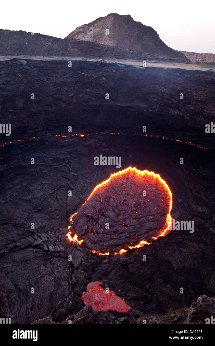Glow, couver, lave, éruption, Ertale volcanical, volcan,, Afrique, montagne, montagnes, le feu, la nature, Photo Stock