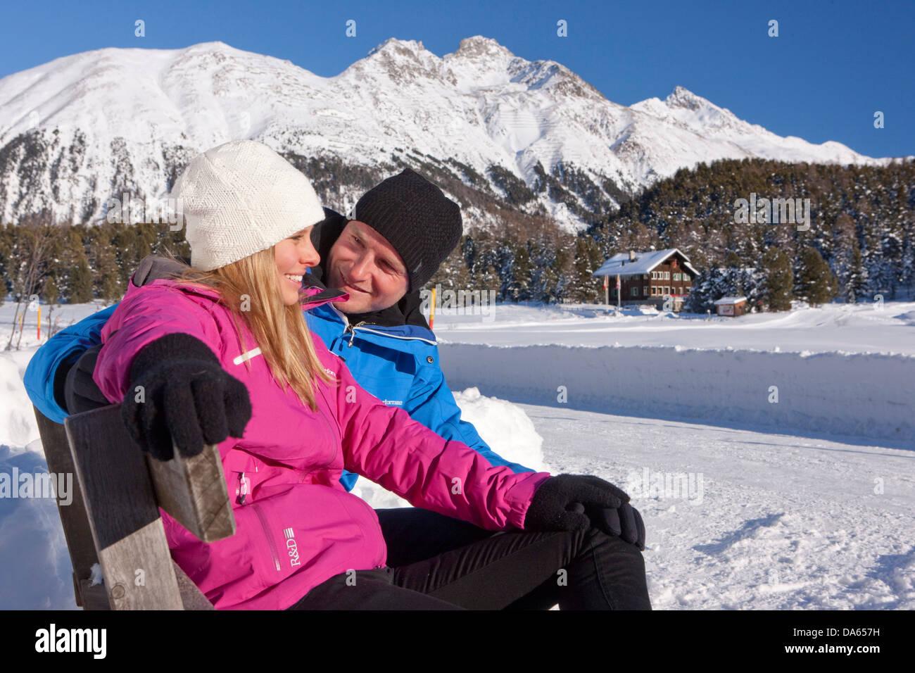 Balades d'hiver, le lac de Staz, hiver, sports d'hiver, canton, GR, Grisons, Grisons, Engadine, Engadine, Photo Stock